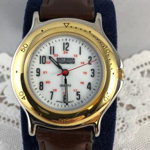 Vintage Brittania Levi Strauss Brown Strap Watch